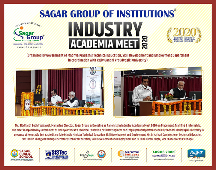 Mr. Siddharth Sudhir Agrawal, Managing Director, Sagar Group addressing as Panelist in Industry-Academia Meet 2020 on Placement, Training & Internship