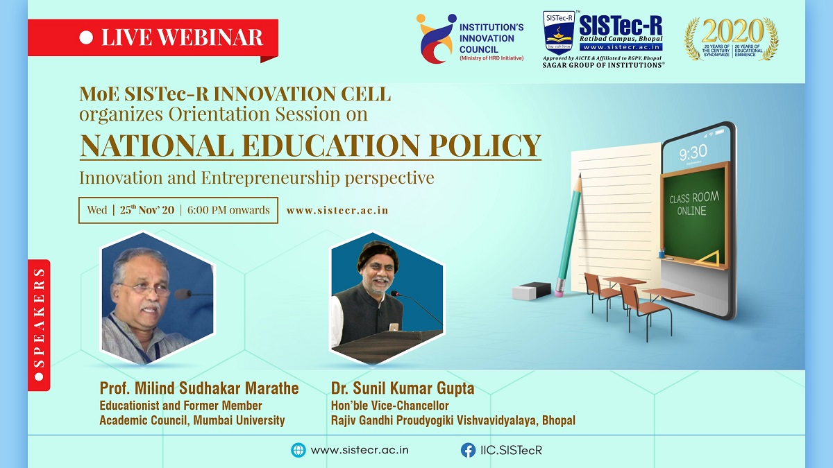 webinar, national education policy, institution innovation council, innovation, entrepreneurship, college, institution, top private engineering colleges in madhya pradesh